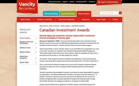 Screenshot of Press Page vancity.com - Canadian Investment Awards - Vancity - captured Nov. 22, 2017
