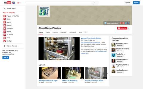 Screenshot of YouTube Page youtube.com - ShapeMasterPlastics  - YouTube - captured Nov. 5, 2014