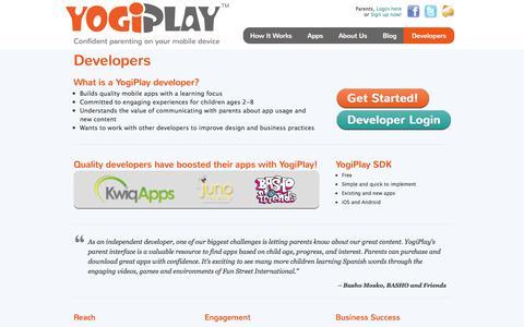 Screenshot of Developers Page yogiplay.com - Developers | YogiPlay - captured Sept. 17, 2014