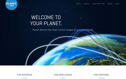 Screenshot of Home Page planet.com - Welcome to your planet - Planet Labs - Planet Labs - captured July 11, 2014