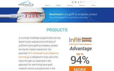 Screenshot of Products Page pinnaclespinegroup.com - Products - Pinnacle Spine Group - captured Nov. 1, 2017