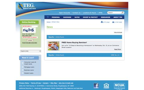 Screenshot of Press Page tegfcu.com - What's New | TEG Federal Credit Union - captured Oct. 6, 2014