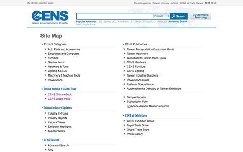 Screenshot of Site Map Page cens.com - Site Map | CENS.com - captured Oct. 6, 2016