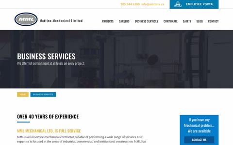 Screenshot of Services Page mattina.ca - Business Services Guide   Mattina Mechanical Limited - captured Oct. 17, 2018