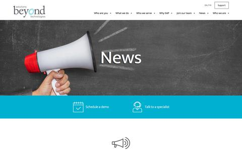 Screenshot of Press Page beyondtechnologies.com - Beyond Technologies News, Events, Blog - captured July 8, 2018