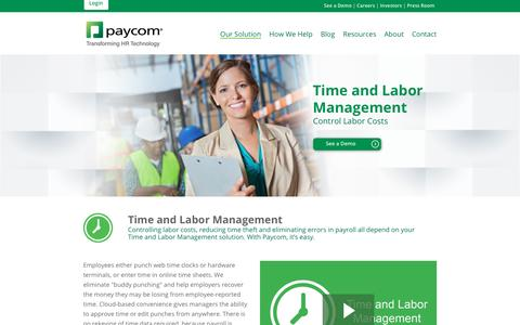 Paycom | Our Solution: Time and Labor Management