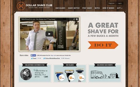 Screenshot of Home Page dollarshaveclub.com - Dollar Shave Club - Shave Time. Shave Money. - captured Sept. 15, 2014