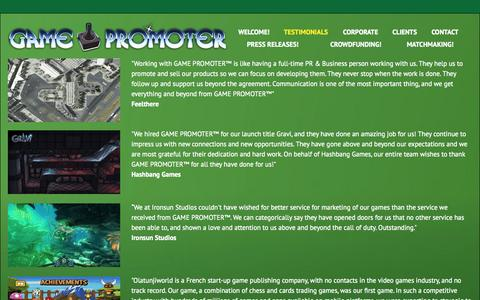Screenshot of Testimonials Page indiedeveloperconsulting.com - Testimonials | GAME PROMOTER™ - captured Sept. 30, 2014