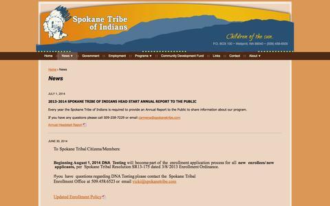 Screenshot of Press Page spokanetribe.com - News | Spokane Tribe - captured Oct. 6, 2014