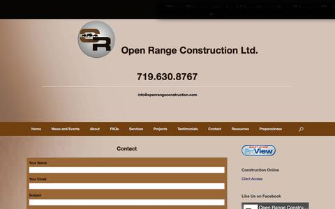 Screenshot of Contact Page openrangeconstruction.com - Contact – Open Range Construction Ltd. - captured Oct. 23, 2017