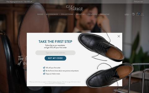Screenshot of Home Page velasca.com - Velasca | Handcrafted leather shoes for men, 100% made in Italy - captured Oct. 19, 2018