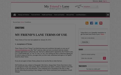 Screenshot of Terms Page myfriendslane.com - Conditions|MyFriendsLane - captured Sept. 16, 2014