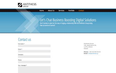 Screenshot of Contact Page antithesis.gr - Contact us | Antithesis Group - Digital agency, TYPO3 solutions, corporate web, social media, open source experts - captured Oct. 4, 2014