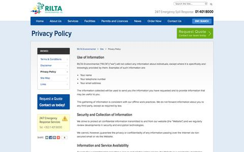 Screenshot of Privacy Page rilta.ie - Privacy Policy | Environmental & Hazardous Waste Services | Tel: + 353 1 401 8000 - captured Oct. 26, 2014