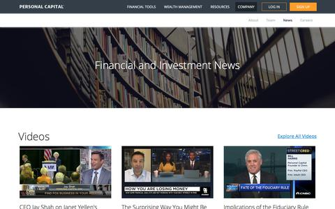 Screenshot of Press Page personalcapital.com - Financial & Investment News | Personal Capital - captured May 17, 2018