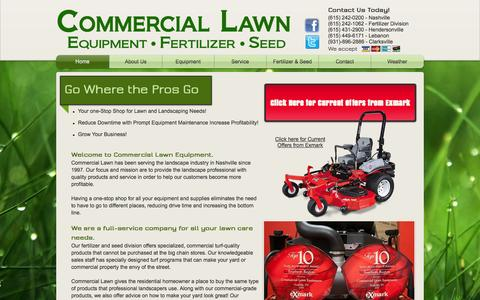 Screenshot of Home Page commerciallawnequipment.com - Commercial Lawn Equipment Fertalizer Seed - captured Sept. 30, 2014
