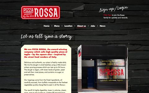 Screenshot of About Page pizzarossa.com - About us | Pizza Rossa - Passion by the Slice - captured Oct. 2, 2014