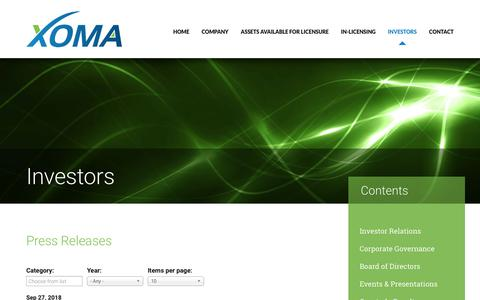 Screenshot of Press Page xoma.com - Press Releases | XOMA Corporation - captured Nov. 6, 2018