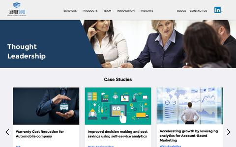 Screenshot of Case Studies Page latentview.com - Advanced Analytics Whitepapers, Case Studies & Infographics - captured Sept. 13, 2019