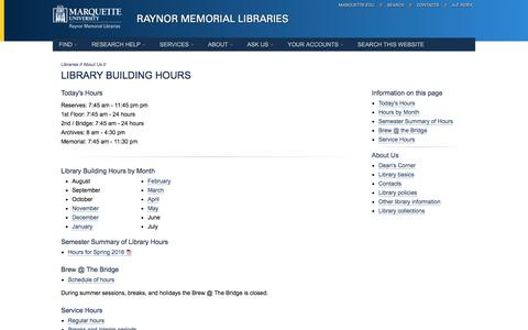 Screenshot of Hours Page marquette.edu - Library Building Hours // Raynor Memorial Libraries // Marquette University - captured Jan. 19, 2016