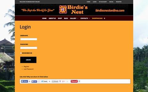 Screenshot of Login Page birdiesnestonline.com - Login - Birdie's Nest Online Store - captured Oct. 5, 2014