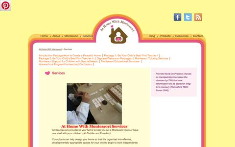 Screenshot of Services Page athomewithmontessori.ca - Services — At Home With Montessori - captured Oct. 4, 2014