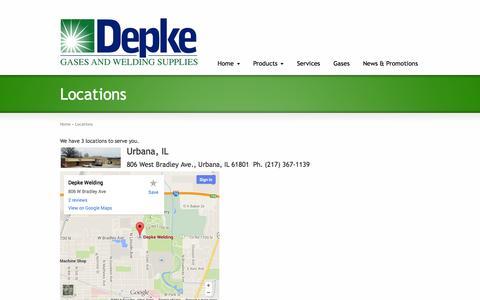 Screenshot of Locations Page depke.com - Depke Welding Locations | Depke Welding - captured Oct. 27, 2014