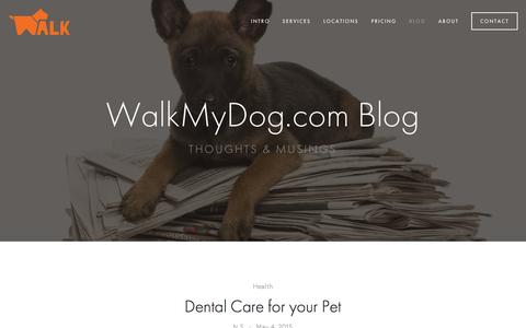 Screenshot of Blog walkmydog.com - Blog — Boston Dog Walking and Pet Sitting - captured Feb. 26, 2016