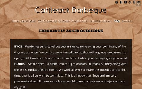 Screenshot of FAQ Page cattleackbbq.com - About CattleAck BBQ and the Owners - captured Sept. 27, 2018
