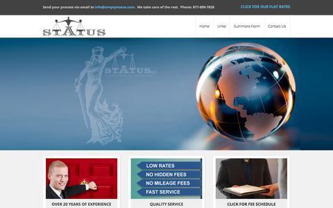 Screenshot of Home Page simplystatus.com - Status LLC - Process Servers | Status LLC - Process Servers - captured Sept. 30, 2017