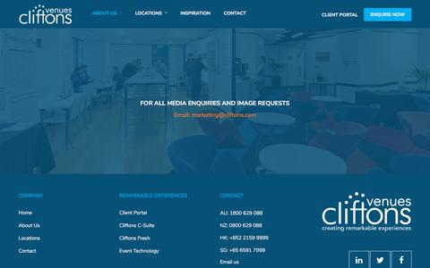 Screenshot of Press Page cliftons.com - Media | Cliftons Conference Venues & Corporate Event Spaces - captured July 19, 2018