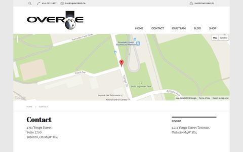 Screenshot of Contact Page overbe.ca - Contact   Overbe - captured Nov. 3, 2014