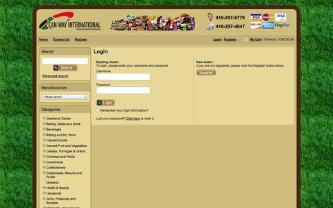 Screenshot of Login Page canwayinternational.ca - Canway  International - Login - captured Sept. 29, 2014
