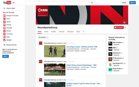 Screenshot of YouTube Page youtube.com - NexusSportsGroup  - YouTube - captured Oct. 25, 2014