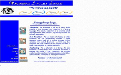 Screenshot of Services Page worldbridgeservices.com - Worldbridge Language Services - captured Feb. 15, 2016