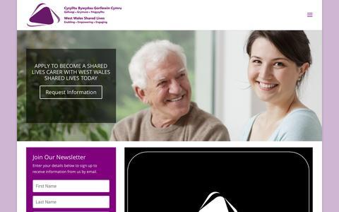 Screenshot of Home Page westwalessharedlives.uk - West Wales Shared Lives | West Wales Shared Lives - captured Dec. 15, 2016