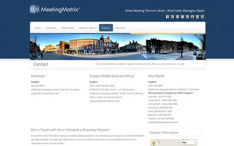 Screenshot of Contact Page Maps & Directions Page meetingmatrix.com - MeetingMatrix Contact - captured Oct. 27, 2014