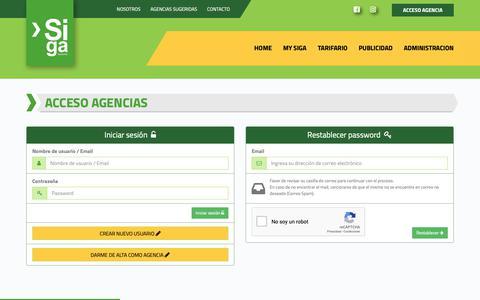 Screenshot of Login Page sigaturismo.com - Iniciar sesión - Siga Turismo - captured Oct. 19, 2018