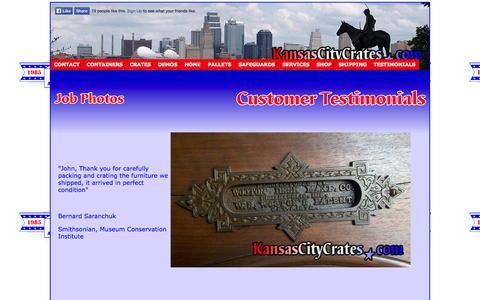 Screenshot of Testimonials Page kansascitycrates.com - Kansas City Crates │Customer Testimonials - captured Oct. 6, 2014