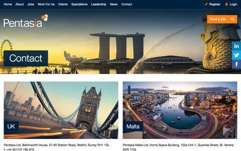 Screenshot of Contact Page pentasia.com - Pentasia | Contact Pentasia Tech and Digital Recruitment Agency - captured July 12, 2016