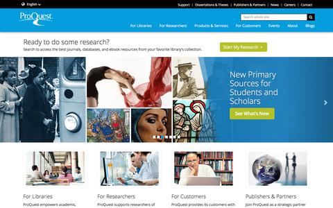 Screenshot of Home Page proquest.com - ProQuest | Databases, EBooks and Technology for Research - captured May 13, 2018