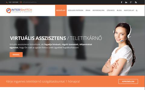 Screenshot of Home Page interswitch.hu - Call center és üzenetközvetítő szolgáltatások - Interswitch Kft. - captured Oct. 6, 2014