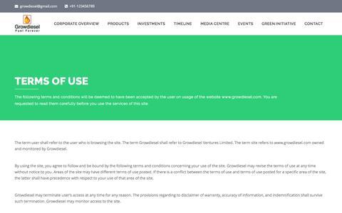 Screenshot of Terms Page growdiesel.biz - Terms of Use – Growdiesel - captured Nov. 16, 2016