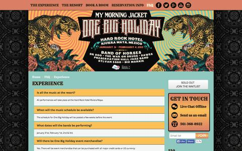 Screenshot of FAQ Page mmjonebigholiday.com - Experience   My Morning Jacket One Big Holiday - captured Oct. 30, 2014