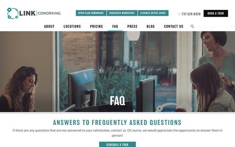 Screenshot of FAQ Page linkcoworking.com - FAQ – Link Coworking - captured July 20, 2018