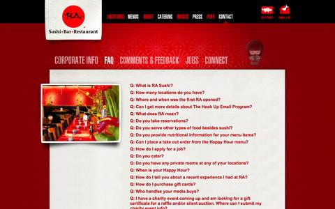Screenshot of FAQ Page rasushi.com - RA Sushi Bar Restaurant, FAQ, Frequently Asked Questions - captured Sept. 22, 2014