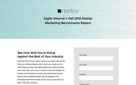 Screenshot of Landing Page appboy.com - Digits Mobile Marketing Metrics   Appboy - captured Oct. 21, 2016