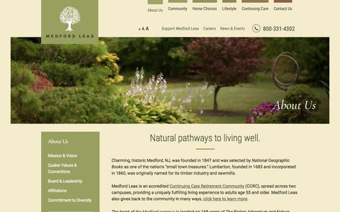 Screenshot of About Page medfordleas.org - Medford NJ CCRC Senior Living Home | Medford Leas - captured Sept. 20, 2018