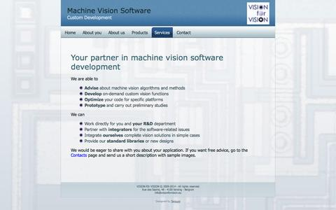 Screenshot of Services Page visionforvision.eu - Software development services - captured Oct. 26, 2014