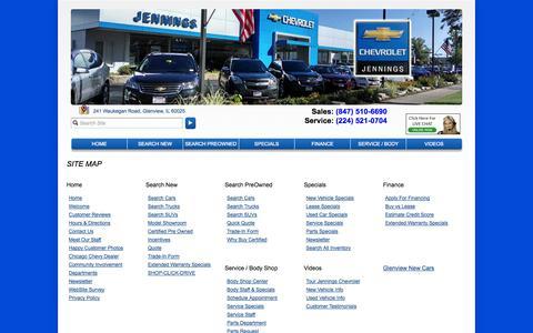 Screenshot of Site Map Page jenningschevrolet.com - Chicago Chevrolet | Jennings Chevrolet in Glenview, IL near Park Ridge - captured Sept. 30, 2014